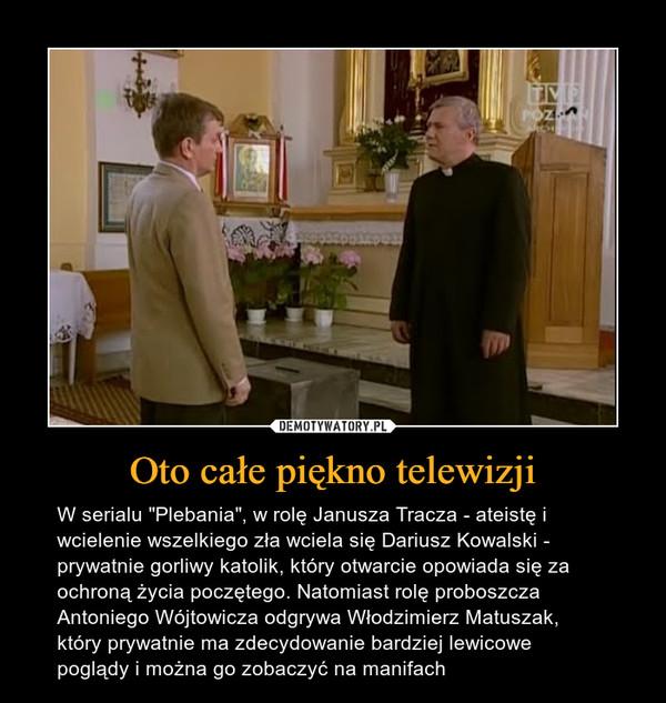 """Oto całe piękno telewizji – W serialu """"Plebania"""", w rolę Janusza Tracza - ateistę i wcielenie wszelkiego zła wciela się Dariusz Kowalski - prywatnie gorliwy katolik, który otwarcie opowiada się za ochroną życia poczętego. Natomiast rolę proboszcza Antoniego Wójtowicza odgrywa Włodzimierz Matuszak, który prywatnie ma zdecydowanie bardziej lewicowe poglądy i można go zobaczyć na manifach"""