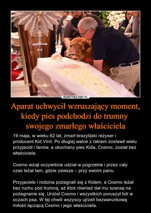 Aparat uchwycił wzruszający moment, kiedy pies podchodzi do trumny swojego zmarłego właściciela – 19 maja, w wieku 62 lat, zmarł brazylijski reżyser i producent Kid Vinil. Po długiej walce z rakiem zostawił wielu przyjaciół i fanów, a ukochany pies Kida, Cosmo, został bez właściciela.Cosmo wziął oczywiście udział w pogrzebie i przez cały czas leżał tam, gdzie zawsze – przy swoim panu.Przyjaciele i rodzina pożegnali się z Kidem, a Cosmo leżał bez ruchu pod trumną, aż ktoś również dał mu szansę na pożegnanie się. Uniósł Cosmo i wszystkich poruszył ból w oczach psa. W tej chwili wszyscy ujrzeli bezwarunkową miłość łączącą Cosmo i jego właściciela.