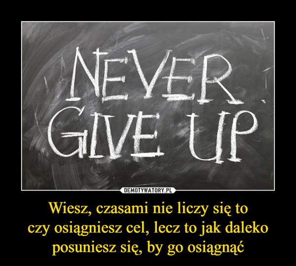 Wiesz, czasami nie liczy się toczy osiągniesz cel, lecz to jak dalekoposuniesz się, by go osiągnąć –  never give up