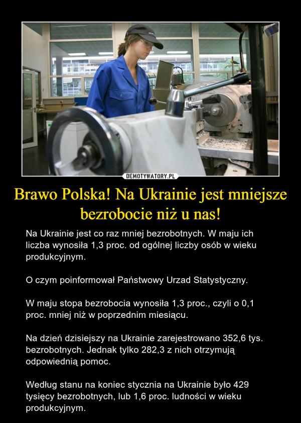 Brawo Polska! Na Ukrainie jest mniejsze bezrobocie niż u nas! – Na Ukrainie jest co raz mniej bezrobotnych. W maju ich liczba wynosiła 1,3 proc. od ogólnej liczby osób w wieku produkcyjnym.O czym poinformował Państwowy Urzad Statystyczny.W maju stopa bezrobocia wynosiła 1,3 proc., czyli o 0,1 proc. mniej niż w poprzednim miesiącu.Na dzień dzisiejszy na Ukrainie zarejestrowano 352,6 tys. bezrobotnych. Jednak tylko 282,3 z nich otrzymują odpowiednią pomoc.Według stanu na koniec stycznia na Ukrainie było 429 tysięcy bezrobotnych, lub 1,6 proc. ludności w wieku produkcyjnym.