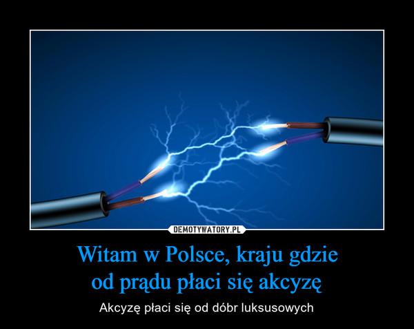 Witam w Polsce, kraju gdzieod prądu płaci się akcyzę – Akcyzę płaci się od dóbr luksusowych