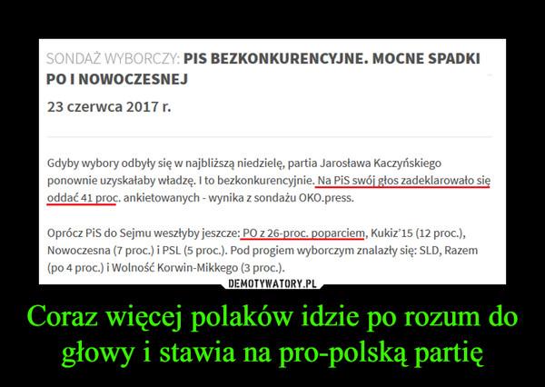 Coraz więcej polaków idzie po rozum do głowy i stawia na pro-polską partię –