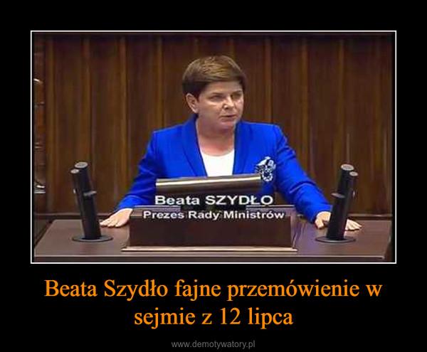 Beata Szydło fajne przemówienie w sejmie z 12 lipca –