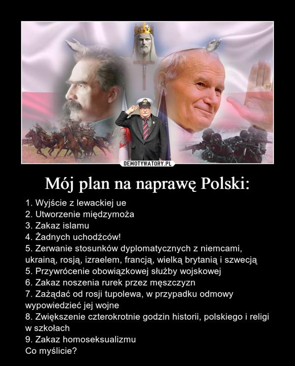 Mój plan na naprawę Polski: – 1. Wyjście z lewackiej ue2. Utworzenie międzymoża3. Zakaz islamu4. Żadnych uchodźców!5. Zerwanie stosunków dyplomatycznych z niemcami, ukrainą, rosją, izraelem, francją, wielką brytanią i szwecją5. Przywrócenie obowiązkowej służby wojskowej6. Zakaz noszenia rurek przez męszczyzn7. Zażądać od rosji tupolewa, w przypadku odmowy wypowiedzieć jej wojne8. Zwiększenie czterokrotnie godzin historii, polskiego i religi w szkołach9. Zakaz homoseksualizmuCo myślicie?