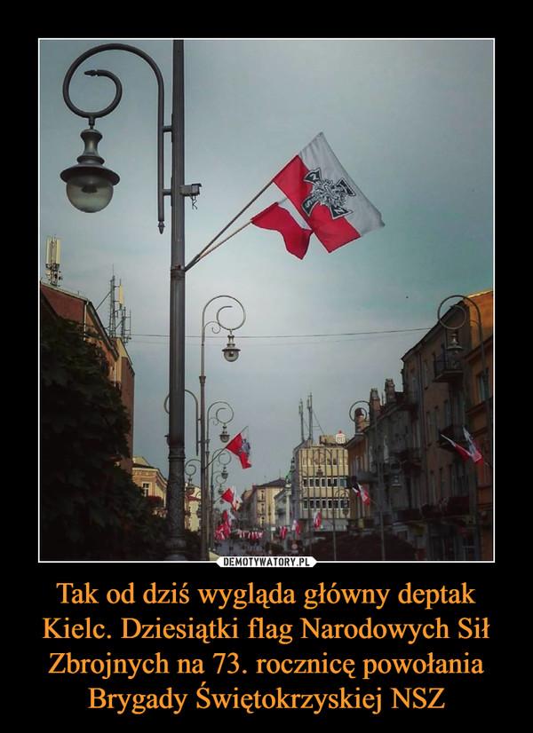 Tak od dziś wygląda główny deptak Kielc. Dziesiątki flag Narodowych Sił Zbrojnych na 73. rocznicę powołania Brygady Świętokrzyskiej NSZ