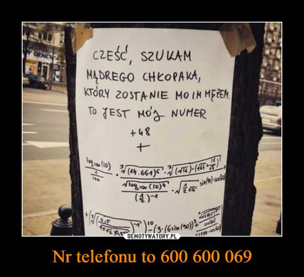Nr telefonu to 600 600 069 –