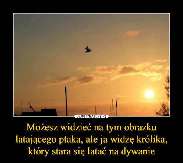 Możesz widzieć na tym obrazku latającego ptaka, ale ja widzę królika, który stara się latać na dywanie –