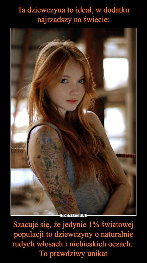 Szacuje się, że jedynie 1% światowej populacji to dziewczyny o naturalnie rudych włosach i niebieskich oczach. To prawdziwy unikat –