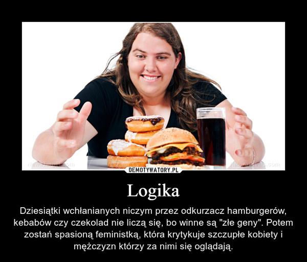 """Logika – Dziesiątki wchłanianych niczym przez odkurzacz hamburgerów, kebabów czy czekolad nie liczą się, bo winne są """"złe geny"""". Potem zostań spasioną feministką, która krytykuje szczupłe kobiety i mężczyzn którzy za nimi się oglądają."""