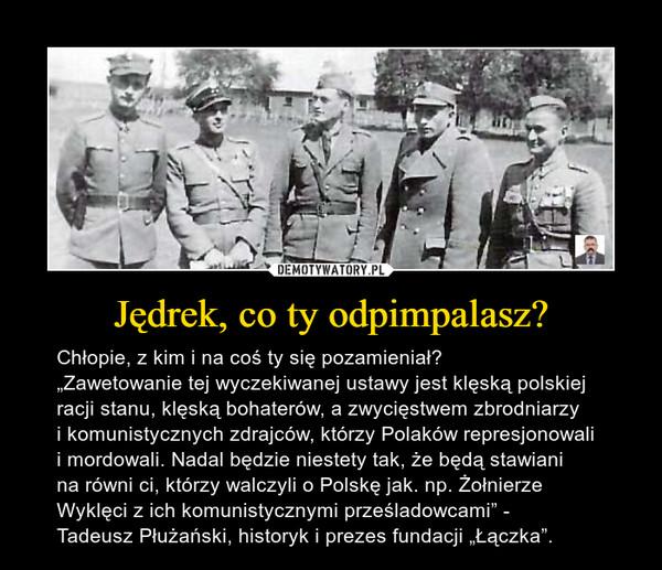 """Jędrek, co ty odpimpalasz? – Chłopie, z kim i na coś ty się pozamieniał?""""Zawetowanie tej wyczekiwanej ustawy jest klęską polskiej racji stanu, klęską bohaterów, a zwycięstwem zbrodniarzy i komunistycznych zdrajców, którzy Polaków represjonowali i mordowali. Nadal będzie niestety tak, że będą stawiani na równi ci, którzy walczyli o Polskę jak. np. Żołnierze Wyklęci z ich komunistycznymi prześladowcami"""" - Tadeusz Płużański, historyk i prezes fundacji """"Łączka""""."""