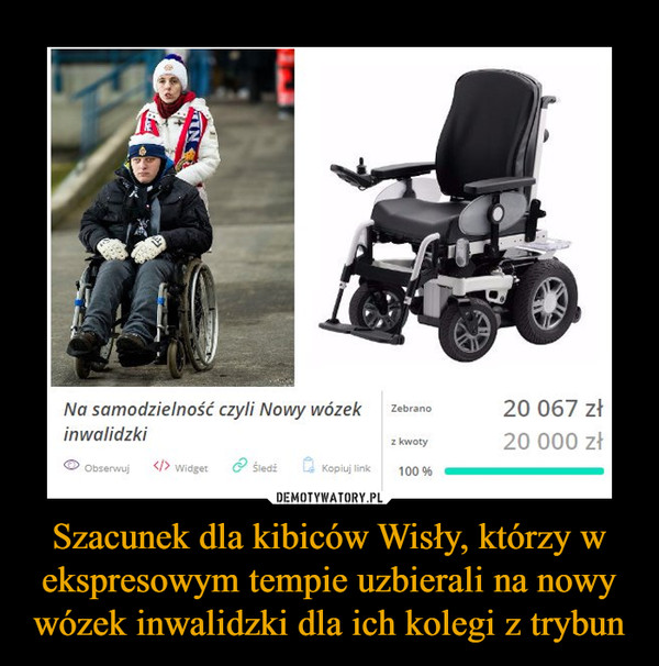 Szacunek dla kibiców Wisły, którzy w ekspresowym tempie uzbierali na nowy wózek inwalidzki dla ich kolegi z trybun –