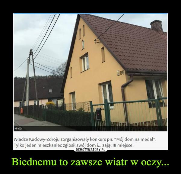 """Biednemu to zawsze wiatr w oczy... –  Władze Kudowy-Zdroju zorganizowały konkurs pn. """"Mój dom na medal.Tylko jeden mieszkaniec zgłosił swój dom i... zajął III miejsce!"""