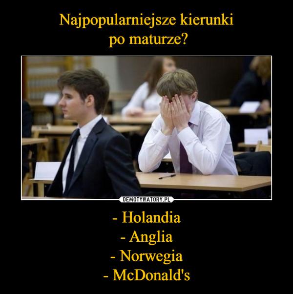 - Holandia- Anglia- Norwegia- McDonald's –