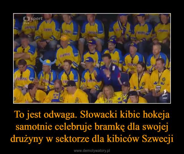 To jest odwaga. Słowacki kibic hokeja samotnie celebruje bramkę dla swojej drużyny w sektorze dla kibiców Szwecji –