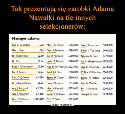 Tak prezentują się zarobki Adama Nawałki na tle innych selekcjonerów: