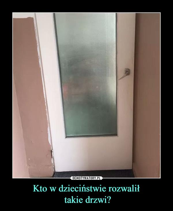 Kto w dzieciństwie rozwalił takie drzwi? –