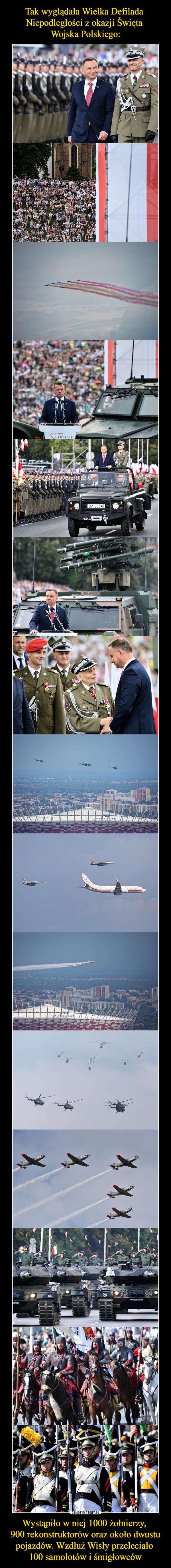 Wystąpiło w niej 1000 żołnierzy, 900 rekonstruktorów oraz około dwustu pojazdów. Wzdłuż Wisły przeleciało 100 samolotów i śmigłowców –