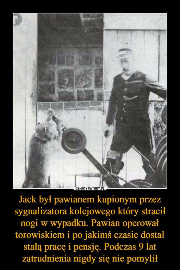 Jack był pawianem kupionym przez sygnalizatora kolejowego który stracił nogi w wypadku. Pawian operował torowiskiem i po jakimś czasie dostał stałą pracę i pensję. Podczas 9 lat zatrudnienia nigdy się nie pomylił –