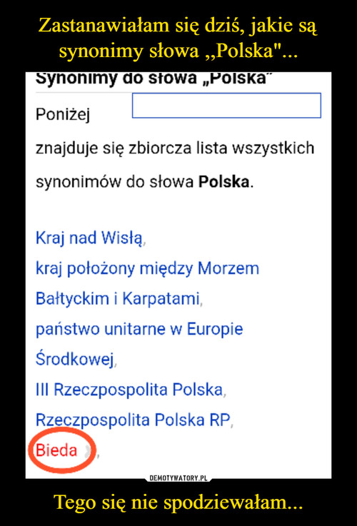 """Zastanawiałam się dziś, jakie są synonimy słowa ,,Polska""""... Tego się nie spodziewałam..."""