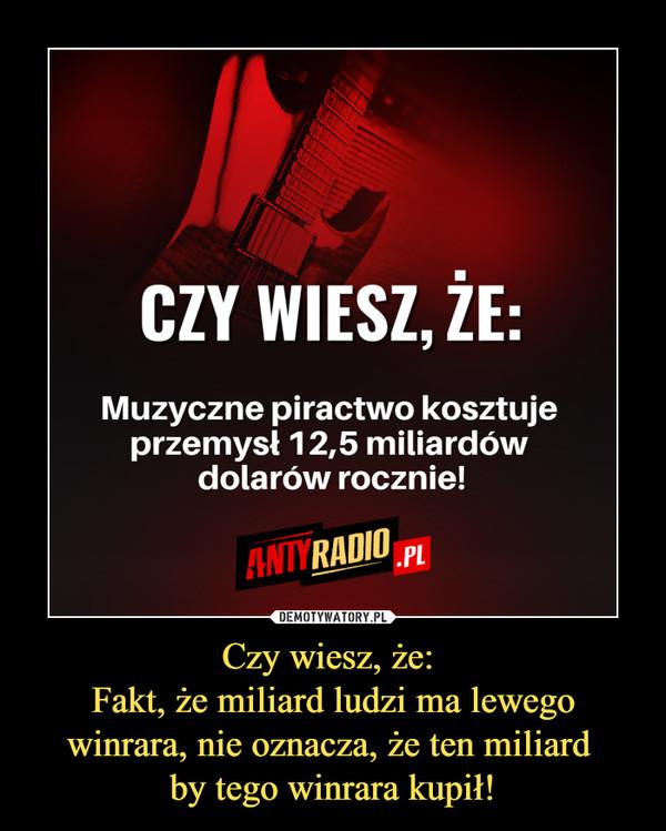 Czy wiesz, że: Fakt, że miliard ludzi ma lewego winrara, nie oznacza, że ten miliard by tego winrara kupił! –  CZY WIESZ, ŻE:Muzyczne piractwo kosztuje przemysł 12,5 miliardów dolarów rocznie!