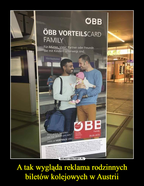 A tak wygląda reklama rodzinnych biletów kolejowych w Austrii –