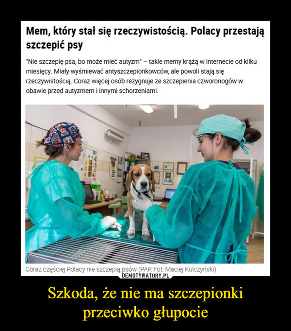 Szkoda, że nie ma szczepionki przeciwko głupocie –