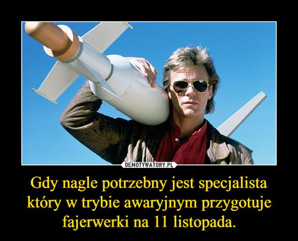 Gdy nagle potrzebny jest specjalista który w trybie awaryjnym przygotuje fajerwerki na 11 listopada. –