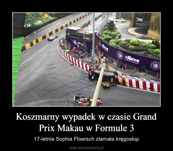 Koszmarny wypadek w czasie Grand Prix Makau w Formule 3 – 17-letnia Sophia Floersch złamała kręgosłup