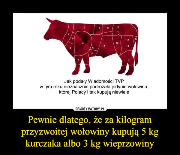 Pewnie dlatego, że za kilogram przyzwoitej wołowiny kupują 5 kg kurczaka albo 3 kg wieprzowiny –