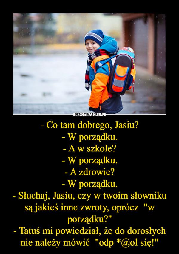 """- Co tam dobrego, Jasiu?- W porządku.- A w szkole?- W porządku.- A zdrowie?- W porządku.- Słuchaj, Jasiu, czy w twoim słowniku są jakieś inne zwroty, oprócz  """"w porządku?""""- Tatuś mi powiedział, że do dorosłych nie należy mówić  """"odp *@ol się!"""" –"""