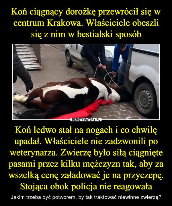 Koń ledwo stał na nogach i co chwilę upadał. Właściciele nie zadzwonili po weterynarza. Zwierzę było siłą ciągnięte pasami przez kilku mężczyzn tak, aby za wszelką cenę załadować je na przyczepę. Stojąca obok policja nie reagowała – Jakim trzeba być potworem, by tak traktować niewinne zwierzę?