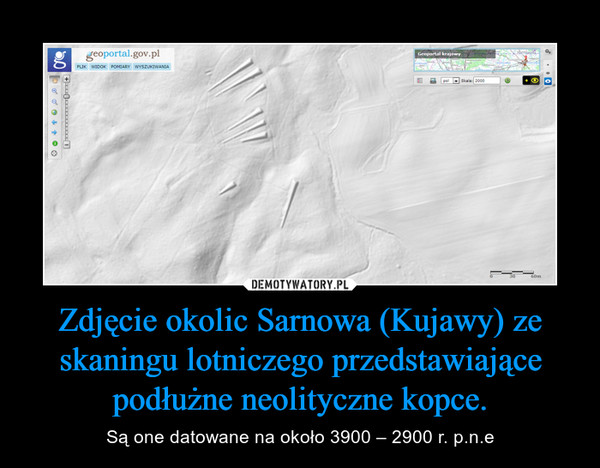 Zdjęcie okolic Sarnowa (Kujawy) ze skaningu lotniczego przedstawiające podłużne neolityczne kopce. – Są one datowane na około 3900 – 2900 r. p.n.e