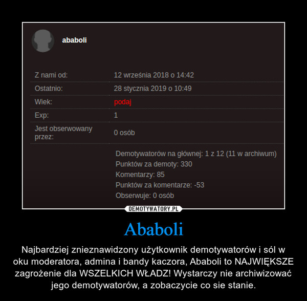 Ababoli – Najbardziej znieznawidzony użytkownik demotywatorów i sól w oku moderatora, admina i bandy kaczora, Ababoli to NAJWIĘKSZE zagrożenie dla WSZELKICH WŁADZ! Wystarczy nie archiwizować jego demotywatorów, a zobaczycie co sie stanie.
