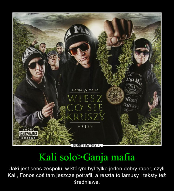 Kali solo>Ganja mafia – Jaki jest sens zespołu, w którym był tylko jeden dobry raper, czyli Kali, Fonos coś tam jeszcze potrafił, a reszta to lamusy i teksty też średniawe.