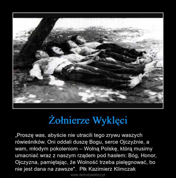 """Żołnierze Wyklęci – """"Proszę was, abyście nie utracili tego zrywu waszych rówieśników. Oni oddali duszę Bogu, serce Ojczyźnie, a wam, młodym pokoleniom – Wolną Polskę, którą musimy umacniać wraz z naszym rządem pod hasłem: Bóg, Honor, Ojczyzna, pamiętając, że Wolność trzeba pielęgnować, bo nie jest dana na zawsze"""".  Płk Kazimierz Klimczak"""