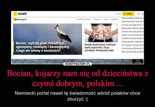 Bocian, kojarzy nam się od dzieciństwa z czymś dobrym, polskim ...