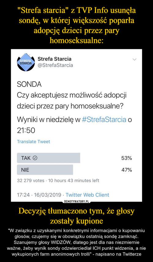 """""""Strefa starcia"""" z TVP Info usunęła sondę, w której większość poparła adopcję dzieci przez pary homoseksualne: Decyzję tłumaczono tym, że głosy zostały kupione"""