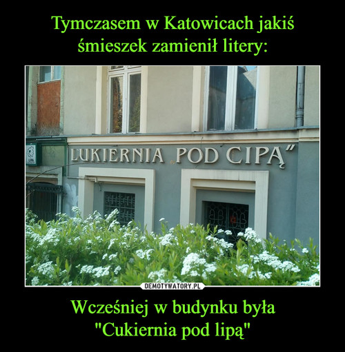 """Tymczasem w Katowicach jakiś śmieszek zamienił litery: Wcześniej w budynku była """"Cukiernia pod lipą"""""""