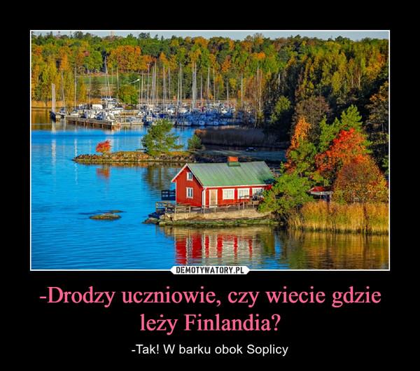 -Drodzy uczniowie, czy wiecie gdzie leży Finlandia? – -Tak! W barku obok Soplicy