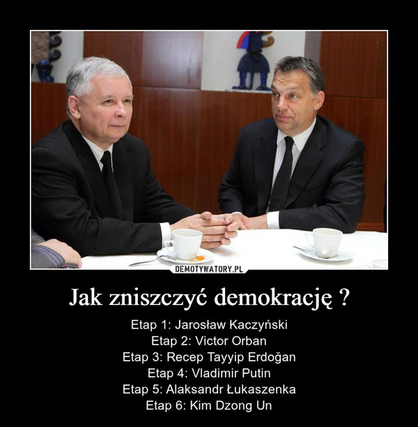 Jak zniszczyć demokrację ? – Etap 1: Jarosław KaczyńskiEtap 2: Victor OrbanEtap 3: Recep Tayyip ErdoğanEtap 4: Vladimir PutinEtap 5: Alaksandr ŁukaszenkaEtap 6: Kim Dzong Un