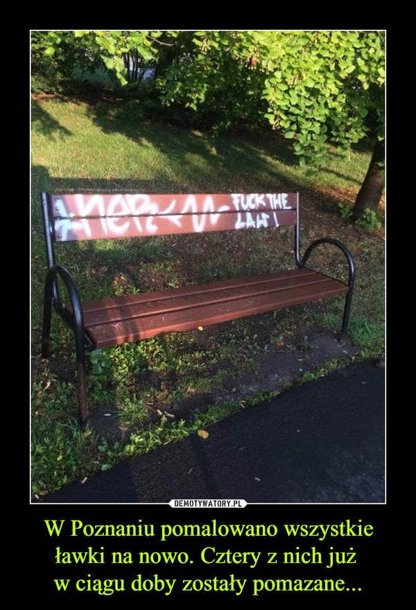 W Poznaniu pomalowano wszystkie ławki na nowo. Cztery z nich już w ciągu doby zostały pomazane... –