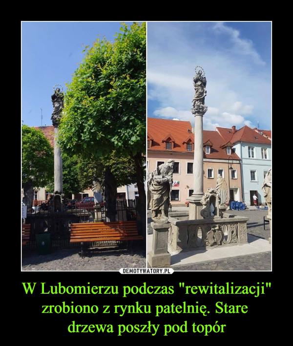 """W Lubomierzu podczas """"rewitalizacji"""" zrobiono z rynku patelnię. Stare drzewa poszły pod topór –"""