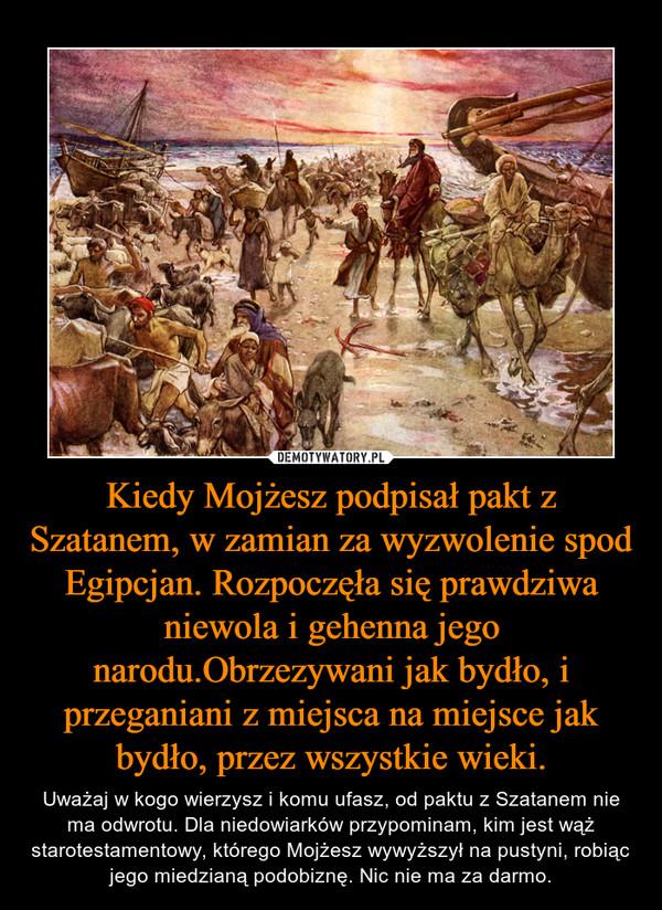 Kiedy Mojżesz podpisał pakt z Szatanem, w zamian za wyzwolenie spod Egipcjan. Rozpoczęła się prawdziwa niewola i gehenna jego narodu.Obrzezywani jak bydło, i przeganiani z miejsca na miejsce jak bydło, przez wszystkie wieki. – Uważaj w kogo wierzysz i komu ufasz, od paktu z Szatanem nie ma odwrotu. Dla niedowiarków przypominam, kim jest wąż starotestamentowy, którego Mojżesz wywyższył na pustyni, robiąc jego miedzianą podobiznę. Nic nie ma za darmo.