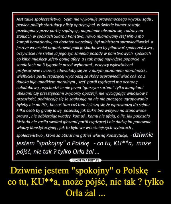 """Dziwnie jestem """"spokojny"""" o Polskę    - co tu, KU**a, może pójść, nie tak ? tylko Orła żal ... –"""