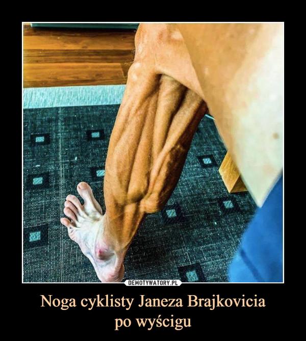 Noga cyklisty Janeza Brajkoviciapo wyścigu –