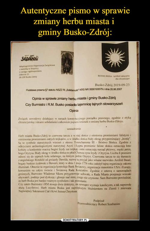 Autentyczne pismo w sprawie zmiany herbu miasta i  gminy Busko-Zdrój:
