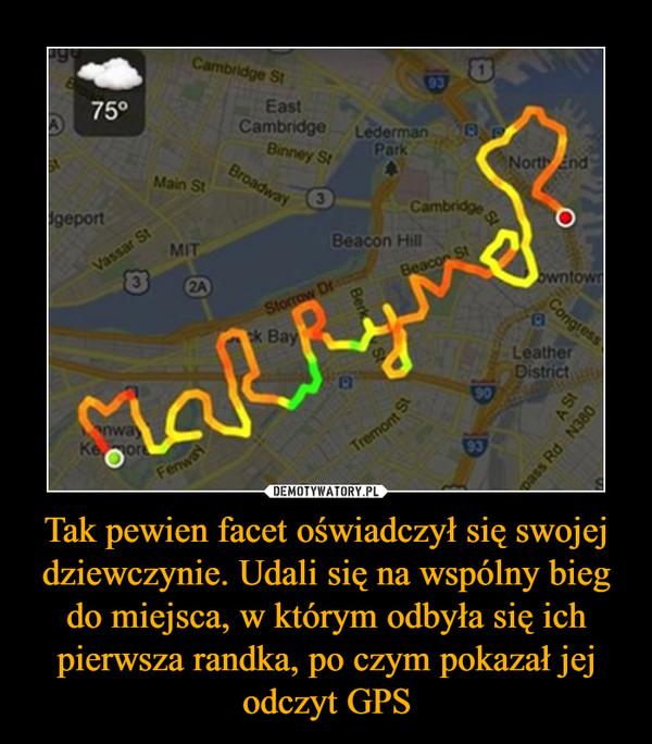 Tak pewien facet oświadczył się swojej dziewczynie. Udali się na wspólny bieg do miejsca, w którym odbyła się ich pierwsza randka, po czym pokazał jej odczyt GPS –