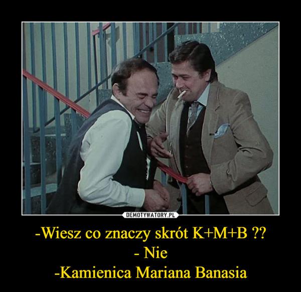 -Wiesz co znaczy skrót K+M+B ??- Nie-Kamienica Mariana Banasia –