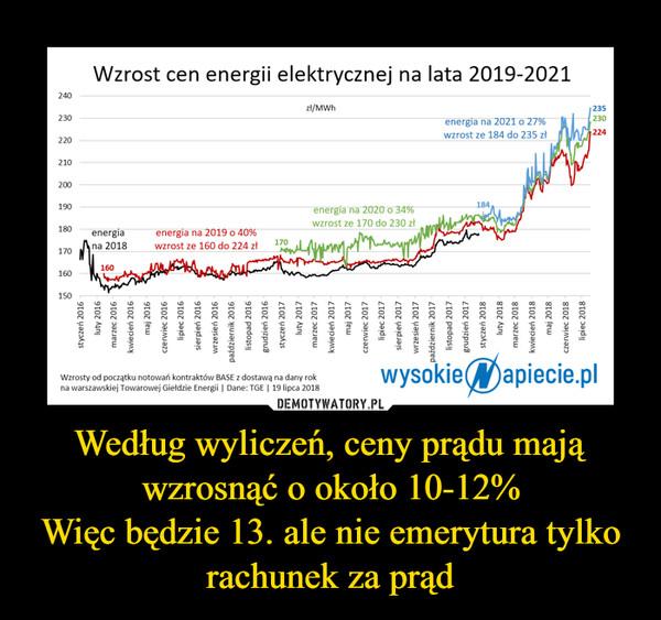 Według wyliczeń, ceny prądu mają wzrosnąć o około 10-12%Więc będzie 13. ale nie emerytura tylko rachunek za prąd –
