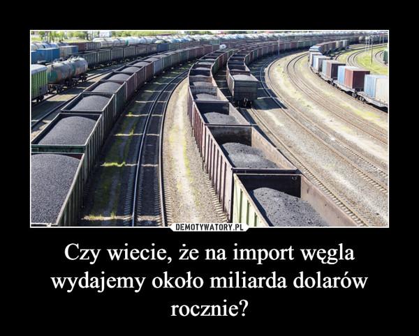 Czy wiecie, że na import węgla wydajemy około miliarda dolarów rocznie? –